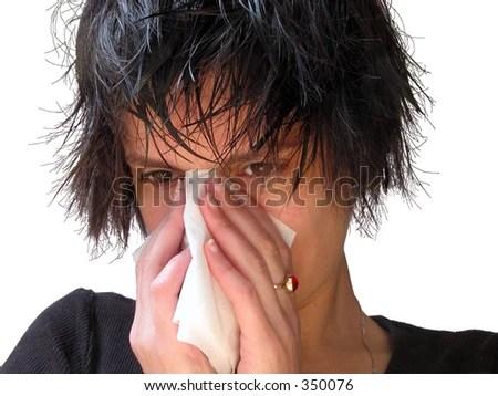 girl wet hair blowing her noseover stock photo shutterstock