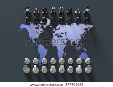 Symbol Geopolitics Chess Board Out World Stock Illustration     symbol of geopolitics  chess board out of the world map with chess play