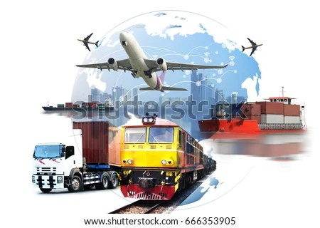 Global Business Container Cargo Freight Train Stock Photo  Royalty     Global business of Container Cargo freight train for logistic import  export  Business logistics concept