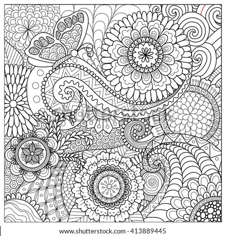 Hand Drawn Zentangle Floral Background Coloring Stock