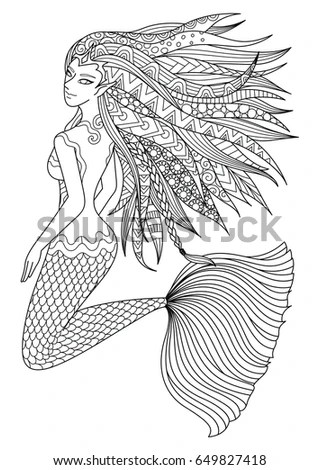 Beautiful Mermaid Swimming Ocean Design Adult Stock Vector
