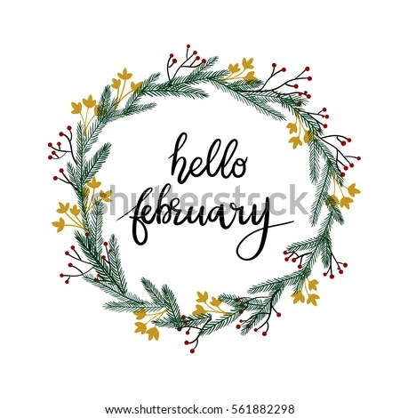 Hello February Hand Lettering Greeting Card Stock Vector