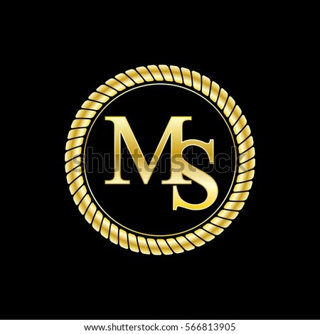 Initials Ms Logo Luxurious Golden Letters Stock Vector