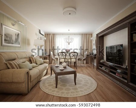 Modern Classic Living Room Dining Stock Ilration 593072498