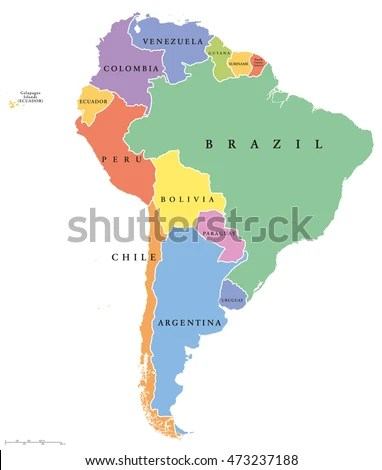 South America Single States Political Map Stock Vector 473237188     South America Single States Political Map Stock Vector 473237188    Shutterstock