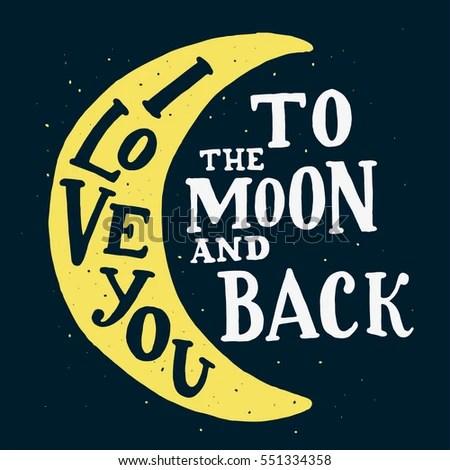 Download Love You Moon Back Vector Typography Stock Vector ...