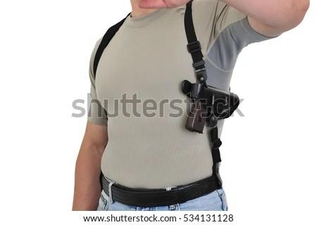 Wearing Weapons Mans Torso Shoulder Holster Stock Photo ...