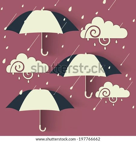 Concept Rainy Season Umbrella Air Cloud Stock Vector ...