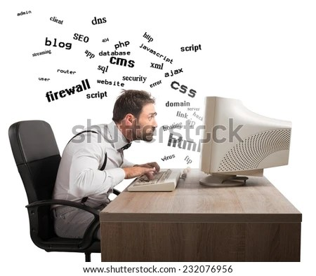 Businessman at work tries to understand internet terms - stock photo