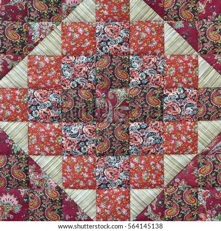 Old Patchwork Quilt Background Colorful Rustic Stock Photo ...