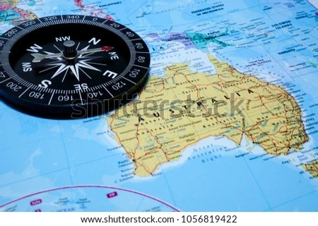 Compass Australia World Map Background Stock Photo  Royalty Free     Compass with Australia world map background