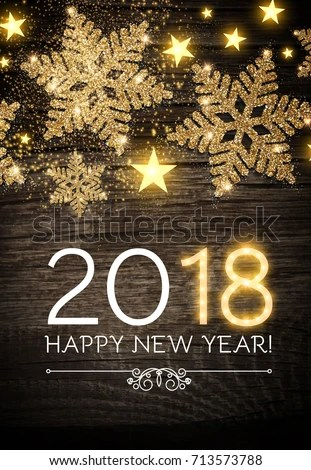 Happy New 2018 Year Poster Template Stock Vector  Royalty Free     Happy New 2018 Year Poster Template with Shining Gold Snowflakes and Star  on Wood Texture