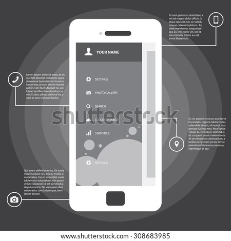 Mobile Wireframe App UI Kit Screen Stock Vector 308683985   Shutterstock Mobile Wireframe App UI Kit Screen  Sidebar menu screen  which can be used  in