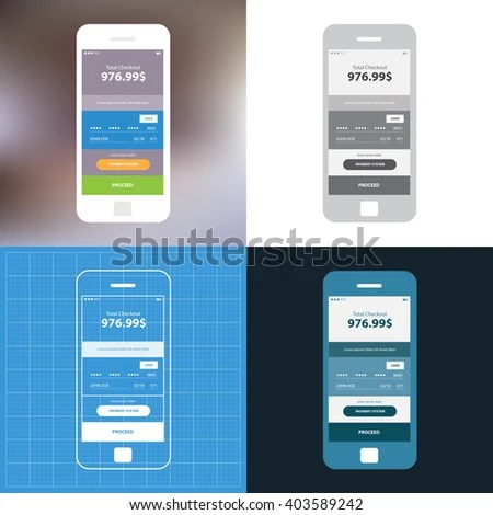 Mobile Wireframe App Ui Kit Credit Stock Vector 403589242   Shutterstock Mobile wireframe app ui kit  Credit card information screen