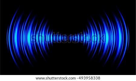 Sound Waves Oscillating Dark Blue Light Stock Vector ...