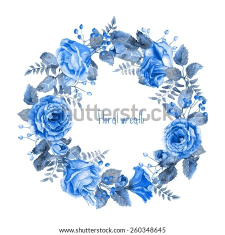 Vector Round Frame Blue Watercolor Roses Stock Vector