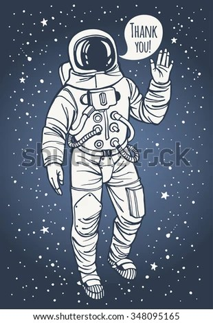 Thank You Day Illustration Astronaut Spacesuit Stock ...