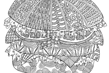 stylized doodle vector fast food stock vector royalty zentangle stylized doodle vector of fast food hamburger zen art ornate drawing suits as zentangle
