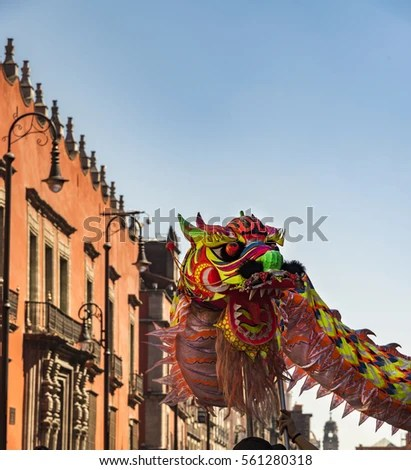 Chinese New Year Mexico City Colorful Stock Photo  Download Now     Chinese New Year in Mexico City  colorful dragon  background the palace and  blue sky