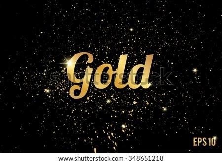Golden Splashes On Black Background Gold Stock Vector