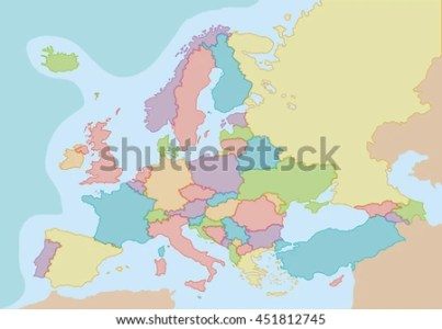 Political Map Europe Colors Borders Each Stock Vector 451812745     Political map of Europe with colors and borders for each country  Vector  illustration