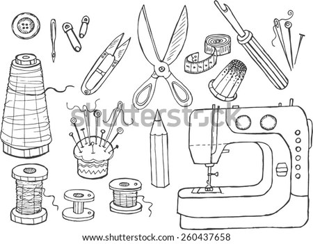 Set Sewing Tools Stock Vector 260437658 Shutterstock