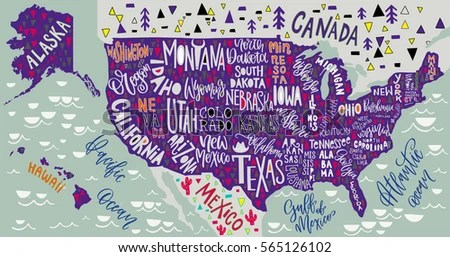 USA Map States Pictorial Geographical Poster Stock Vector 565126102     USA map with states   pictorial geographical poster of America  hand drawn  lettering design for