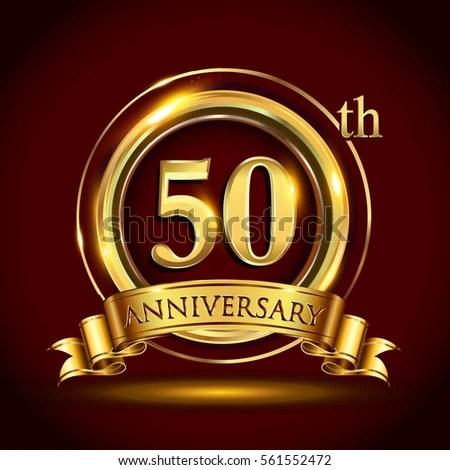 50th Years Golden Anniversary Logo Celebration Stock ...