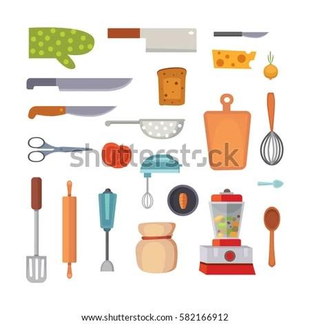 Vector Set Kitchen Utensils Cooking Tools Stock Vector