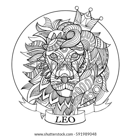 Lion Zodiac Sign Coloring Book Vector Stock Vector