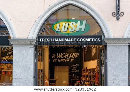 MUNICH, GERMANY - 4 AUGUST 2015: The exterior of Lush store in Munich, Germany. Lush is a popular UK high street store for cosmetic products.