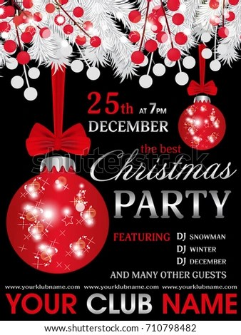 Merry Christmas Party Poster Design Template Stock Vector