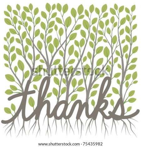 Thank You Message Made Growing Branches Stock Vector