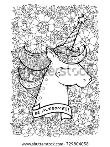 Unicorn Flower Pattern Magical Animal Vector Stock Vector