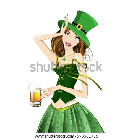 Beautiful Redhaired Girl Holding Beer His Stock Vector ...