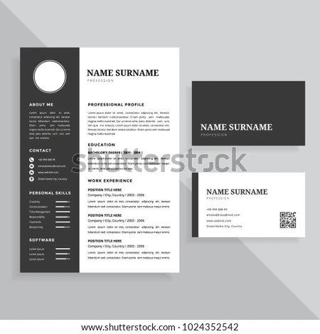 Professional Resume CV Business Card Template Stock Vector     Professional Resume CV and Business Card Template Design Set