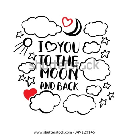 Download Quote Love You Moon Back Vector Stock Vector 349123145 ...