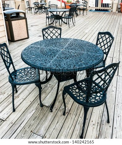 Old Fashioned Cafe Terrace Wrought Iron Stock Photo ...