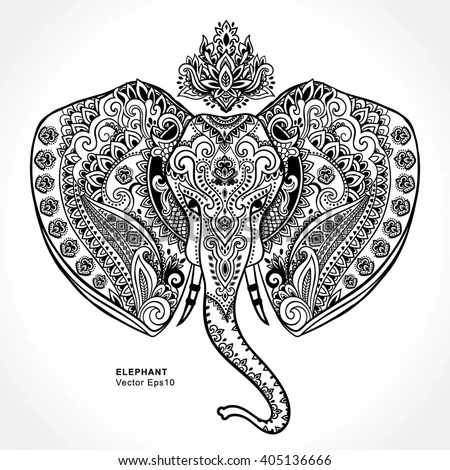 Beautiful Handpainted Elephant Ornament Tattoo Elephant