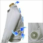 空調服ポリエステル製長袖ブルゾンP-500BN[シルバー](ジャンパー/ジャケット/涼しい/現場/熱中症対策/涼感/冷却効果)