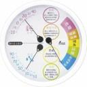 温湿度計 【丸型 ホワイト】 直径約156×30mm 5段階表示付き ブリスター台紙 F-3L II 熱中症注意 〔リビング ダイニング〕