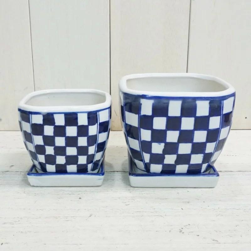 植木鉢 市松模様 磁器 和風 染付正角皿付 石畳 大小2点セ