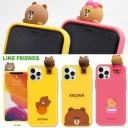 【スーパーSALE特価】アイフォン 12 ケース LINE FRIENDS フィギュア付きカラーソフトケース i……