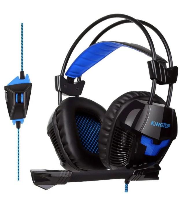 ゲーミングヘッドセット KINGTOP Beexcellent 7.1CH USB PC ヘッドセット 軽量 PCゲーム ヘッドホン 騒音抑制マイク付き ヘッドフォン LEDライト PC PS4 ラップトップなど対応 (ブルー ブラック)