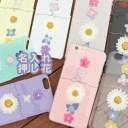 スマホケース 押し花 かわいい 花柄 リボン 押花 人気 大人 可愛い ハードケース 名入れ aquos……