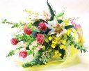 【あす楽16時まで受付】【送料無料】【季節のお花・花束】バラとユリの爽やかな花束【楽ギフ_メッセ】【あす楽対応】