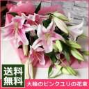 【送料無料】大輪ピンクのユリの花束