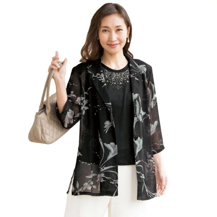 【レディースファッション】メッシュ素材プリントジャケットアンサンブル ST2074-80115▼レデ