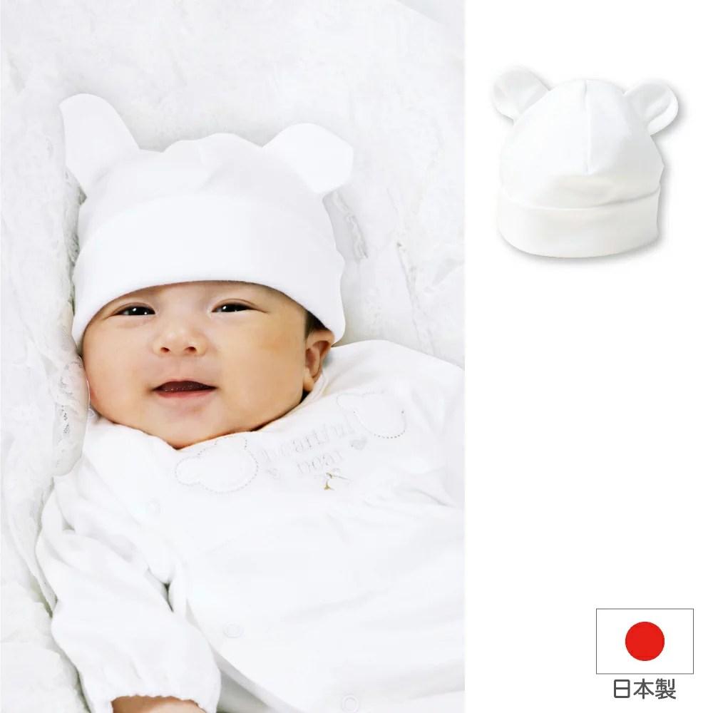 【日本製】白いクマさんの可愛いベビー帽子