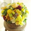 アレンジメントフラワー Round Basket(黄色・オレンジ系)※デザイナーが手がけるお洒落な一品。開店、開業、退職などのビジネスシー..